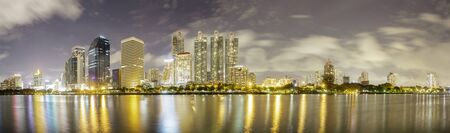 Cityscape night panorama shot from Queen Sirikit National Convention Center, Bangkok, Thailand. photo