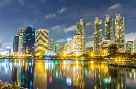 Cityscape night shot from Queen Sirikit National Convention Center, Bangkok, Thailand. photo