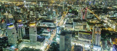 Cityscape night shot from Baiyoke Tower, Bangkok, Thailand. photo