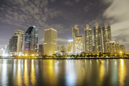 sirikit: Cityscape night shot from Queen Sirikit National Convention Center, Bangkok, Thailand. Stock Photo