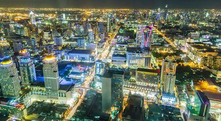 Cityscape night shot from Baiyoke Tower, Bangkok, Thailand.