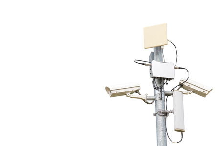 closed circuit: Closed Circuit Television or CCTV on pole isolated on white background. clipping path in picture. Stock Photo