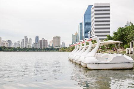 sirikit: Paddle boat shaped swan shot from Queen Sirikit National Convention Center, Bangkok, Thailand. Stock Photo