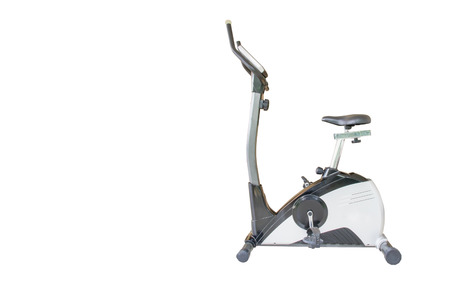 hometrainer: Exercise bike isolated on white background. clipping path in picture.