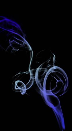 blue green background: Smoke color blue, green and white isolated on black background. Stock Photo