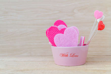 add text: Valentine day red and pink heart on wood. space to add text. Stock Photo