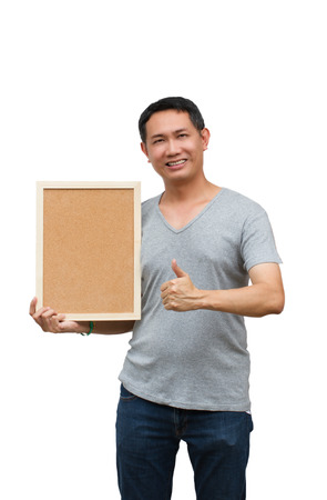 space age: Asian thailand man middle age smile holding blank board, isolated on white background with copy space. Board with blank can add your text or others. clipping path in picture.