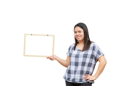 age 30 35 years: Asian thailand woman middle age smile holding blank board, isolated on white background with copy space. Board with blank can add your text or others. clipping path in picture. Stock Photo