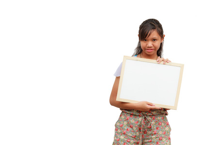 Asian thailand girl smile holding blank board, isolated on white background with copy space. Board with blank can add your text or others. clipping path in picture.