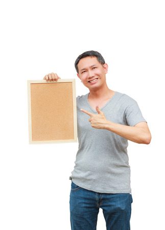 space age: Asian thailand man middle age smile holding blank board, isolated on white background with copy space. Board with blank can add your text or others.
