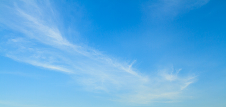 Blue sky and white cloud panorama on summer. Good weather day background with copy space. Stock Photo