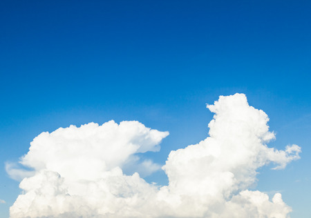 Blue sky and white cloud on summer. Good weather day background with copy space.