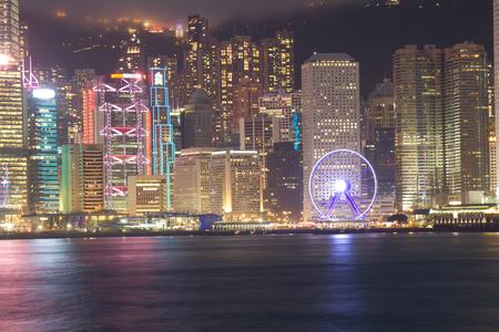 HONG KONG, CHINA – APRIL 23: Show Symphony of Lights on April 23, 2016 in Victoria harbor, Hong Kong, China. Editorial