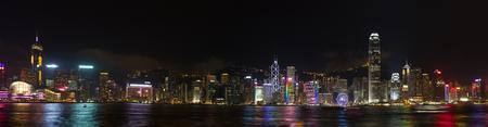 HONG KONG, CHINA – APRIL 23: Show Symphony of Lights on April 23, 2016 in Victoria harbor, Hong Kong, China.