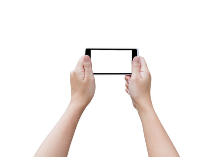 blank screen: Hand woman hold smart phone. The blank screen with copy space for your text or advertising content. Clipping path in picture. Stock Photo