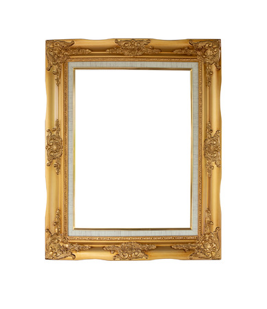 Luxury vintage picture frame is color gold isolated on white background with copy space. clipping path in picture.
