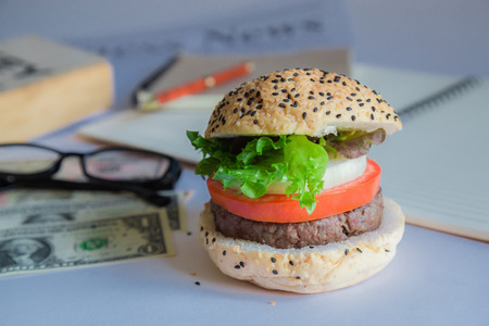 Hamburger food that suits the business rush and busy. Stockfoto