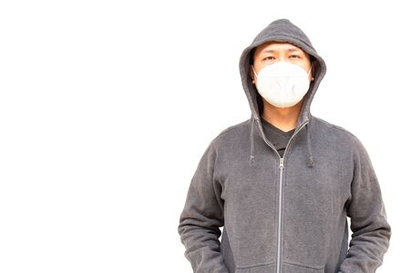 Asian middle age man Asia ethnic wearing health mask to prevent virus or flu or covid19 or coronavirus and white background copy space. Clipping path in the picture. Stock fotó - 143675196