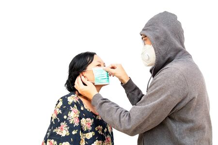 Asian mother and son Asia ethnic wearing health mask to prevent virus or flu or covid19 or coronavirus and white background with copy space. Clipping path in the picture.