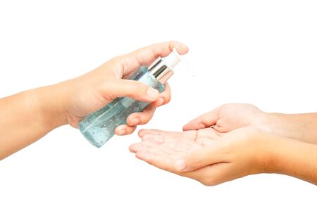 Alcohol gel for hand washing to prevent viruses or coronavirus or covid-19 isolated on white background with copy space and clipping path in picture. Standard-Bild