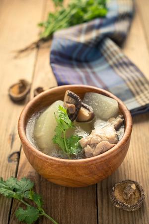 Winter melon soup with chicken and mushroom Reklamní fotografie