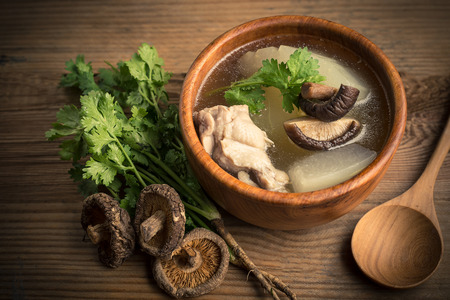 Winter melon soup with chicken and mushroom Standard-Bild