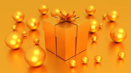 3d goldden gift box  tied with a goldden satin ribbon bow. and goldden balls on goldden background.for christmas and new year.