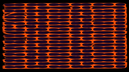 3d abstract rendering orange metal  geometry on dark black background and illustration