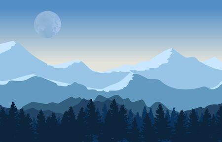 Vector mountains and forest landscape pine trees with blue sky and moon