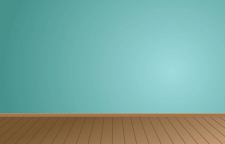 Empty Room background and Light Blue wall with Wooden floor.vector illustration.