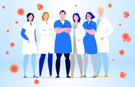 Group of hospital medical staff standing together.Various male and female medicine workers.  Colored vector characters. Cartoon style. 矢量图像