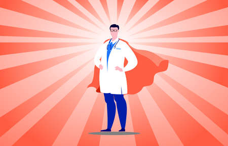 A man in a doctor's uniform with red cloak superhero defend against the virus. 矢量图像