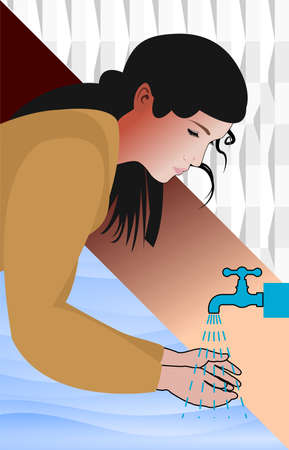 woman wash her hands under water during coronavirus outbreak to sanitize and disinfect COVID-19 Coronavirus pathogens from your hands concept, 矢量图像