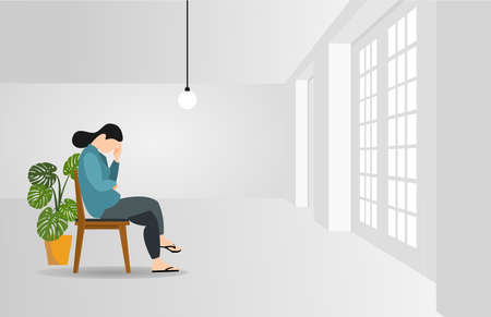 Woman character sitting alone, feeling stress emotion, depression. Sad male person in problem, loneliness fear, in room.
