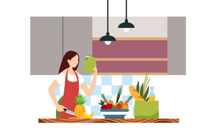 Woman  cooking in the kitchen. Cute lady chopping vegetables and fruits. A girl holding a Knife. Kitchenware, crockery, kitchen and home. Isolated  of girl cooking.