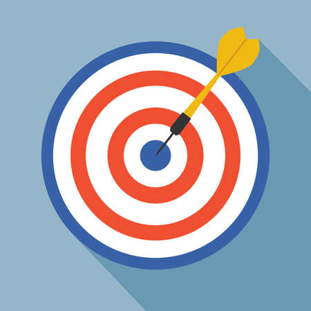 target with arrow on black background.dart vector illustration. flat style with long shadow.