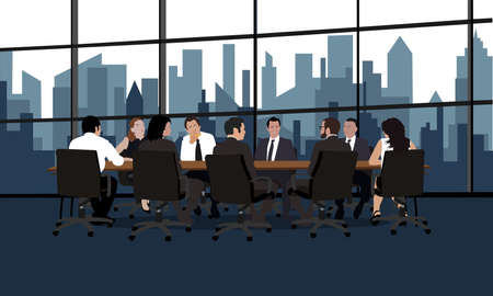 Politicians or corporate officers group authority people talks sitting at round table. Big war room. Negotiations conversation conference hall, boardroom or meeting room. Flat vector illustration 矢量图像