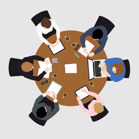 business meeting top view on brown circle table conference office team .vector illustration