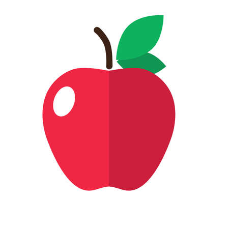 Red apple with a leaf flat vector icon isolated colored illustration. Element of colored food icon for mobile concept and web apps. on white background. - Vector