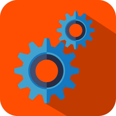 Gear and cogwheel mechanism, business cooperation metaphor, engineering industry abstract logo in flat design style isolated on red background. - Vector