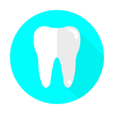 teeth  dentist flat icon vector with long shadow.