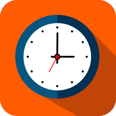 circle Clock  flat style, timer on orange color background and long shadow. Vector design element - Vector