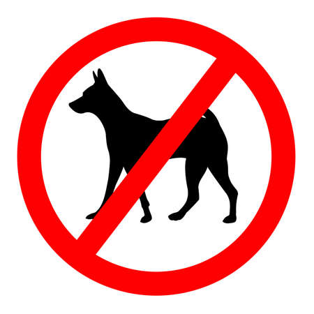 no dog pet entry ,symbol sign icon vector on red circle and white  background. 矢量图像