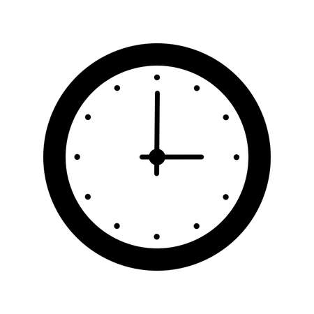 Clock icon isolated on white background. Vector illustration. -