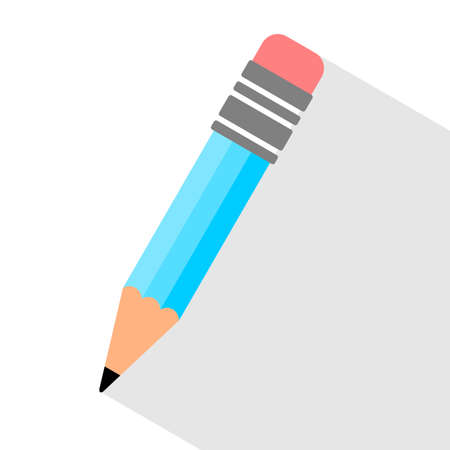 blue Pencil flat  with long shadow on white background illustration  - Vector