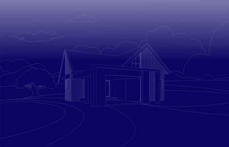 Vector blue print wireframe perspective of tropical modern house exterior.Single floor one story house .drawing line.
