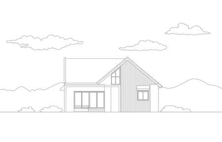 Vector front view of tropical modern house exterior.Single floor one story house .drawing line.