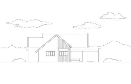 Vector side view of tropical modern house exterior.Single floor one story house .drawing line.