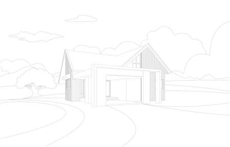 Vector wireframe perspective of tropical modern house exterior.Single floor one story house .drawing line.