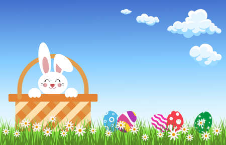Little Bunny In Basket With Decorated Eggs on  Flowers Grass background blue sky clouds .vector illustration. 矢量图像